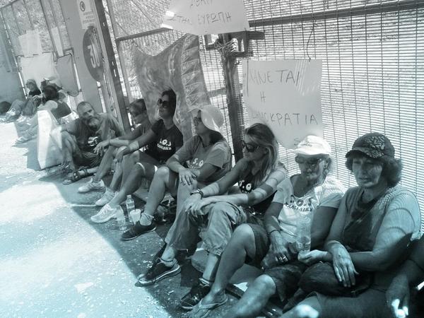 Protestors blockade Skouries construction site entrance