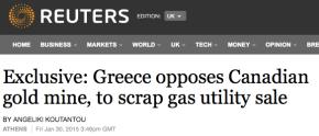 Reuters: Η Ελλάδα αντιτίθεται στη καναδική εξόρυξηχρυσού