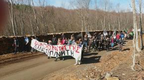 Πορεία στις Σκουριές: Οι διαδηλωτές έριξαν τον φράχτη του ανοιχτού ορύγματος (φωτό καιβίντεο)